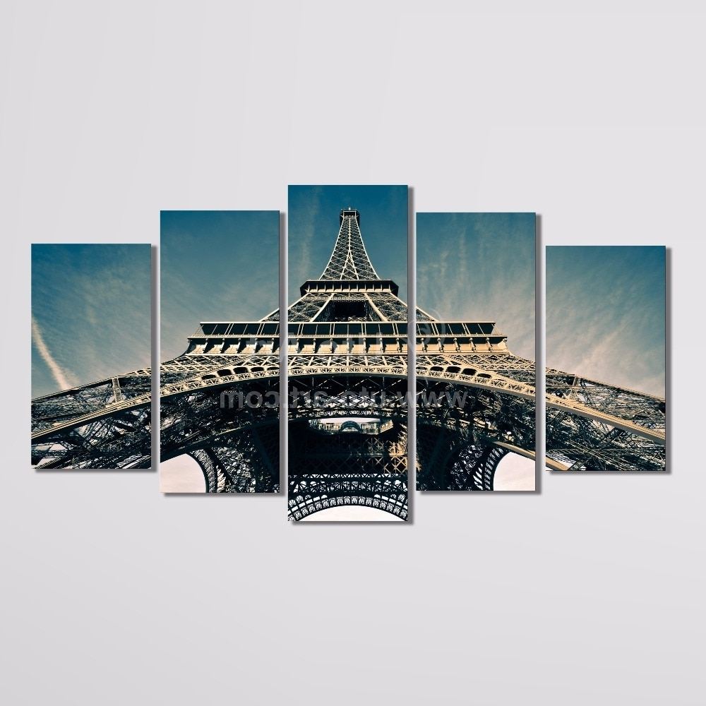 Modern 5 Piece Wall Art Painting Paris City Custom Canvas Prints Pertaining To Most Current 5 Piece Canvas Wall Art (View 7 of 15)
