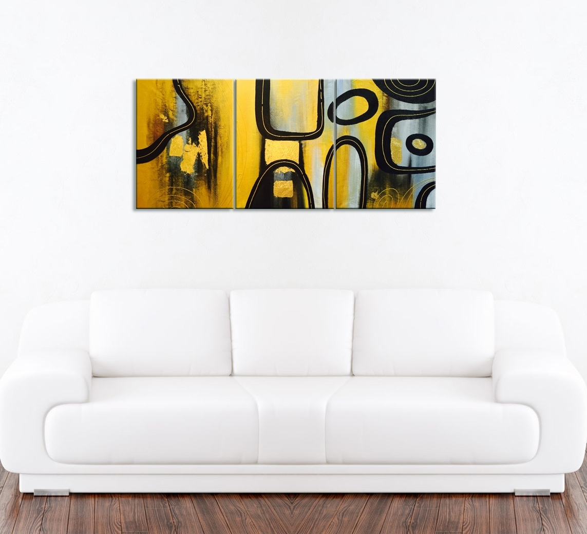 Modern Abstract Gold Oil Painting 3 Piece Wall Decor In Newest 3 Piece Wall Art (View 6 of 15)