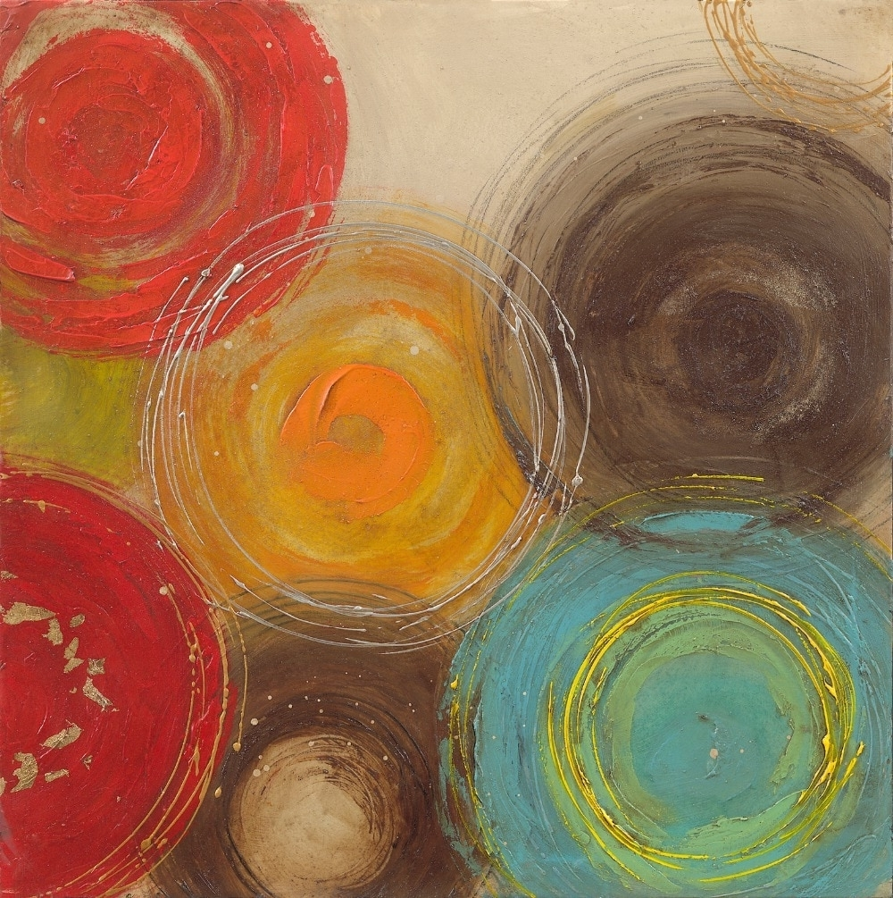 Modern Abstract Painting Wall Art Within Well Known 2015 Colored Circles Modern Abstract Painting Decorative Artist (View 8 of 15)