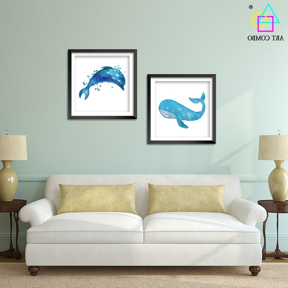 Modern Art Blue Whale Dolphins Paintings On Canvas Wall Art Picture Within Famous Whale Canvas Wall Art (View 3 of 15)
