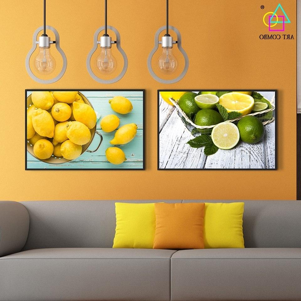 Modern Canvas Painting Fresh Green And Yellow Lemon Tasty Tea Wall Inside Popular Lemon Wall Art (View 5 of 15)