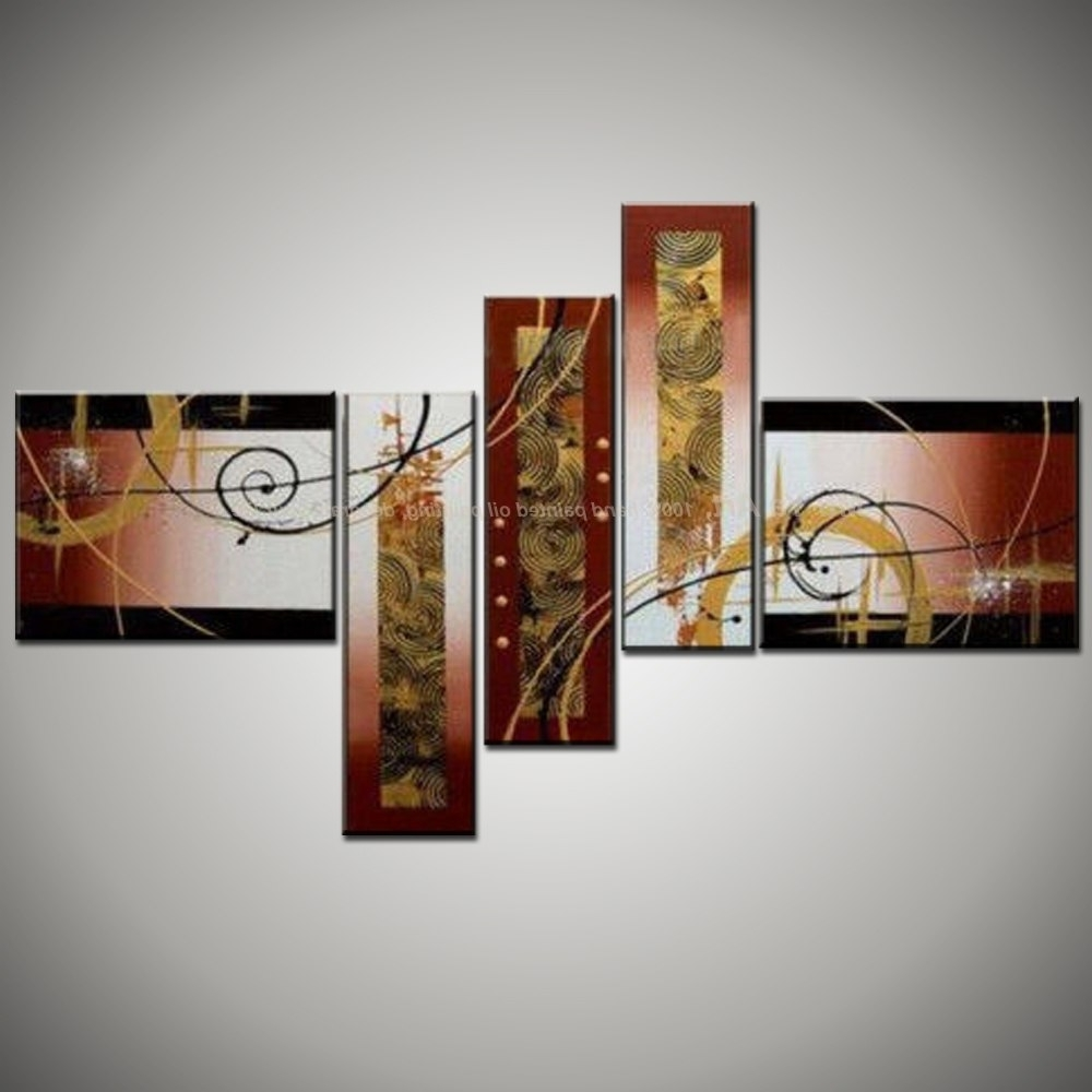Modern Canvas Wall Art For Popular Large Abstract Canvas Art 5 Piece Modern Canvas Wall Art Handmade (View 13 of 15)