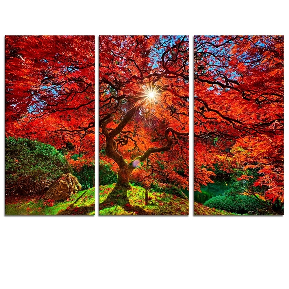 Modern Canvas Wall Art Red Maple Tree Canvas Wall Art Prints Picture Within Well Liked Red Canvas Wall Art (View 12 of 15)