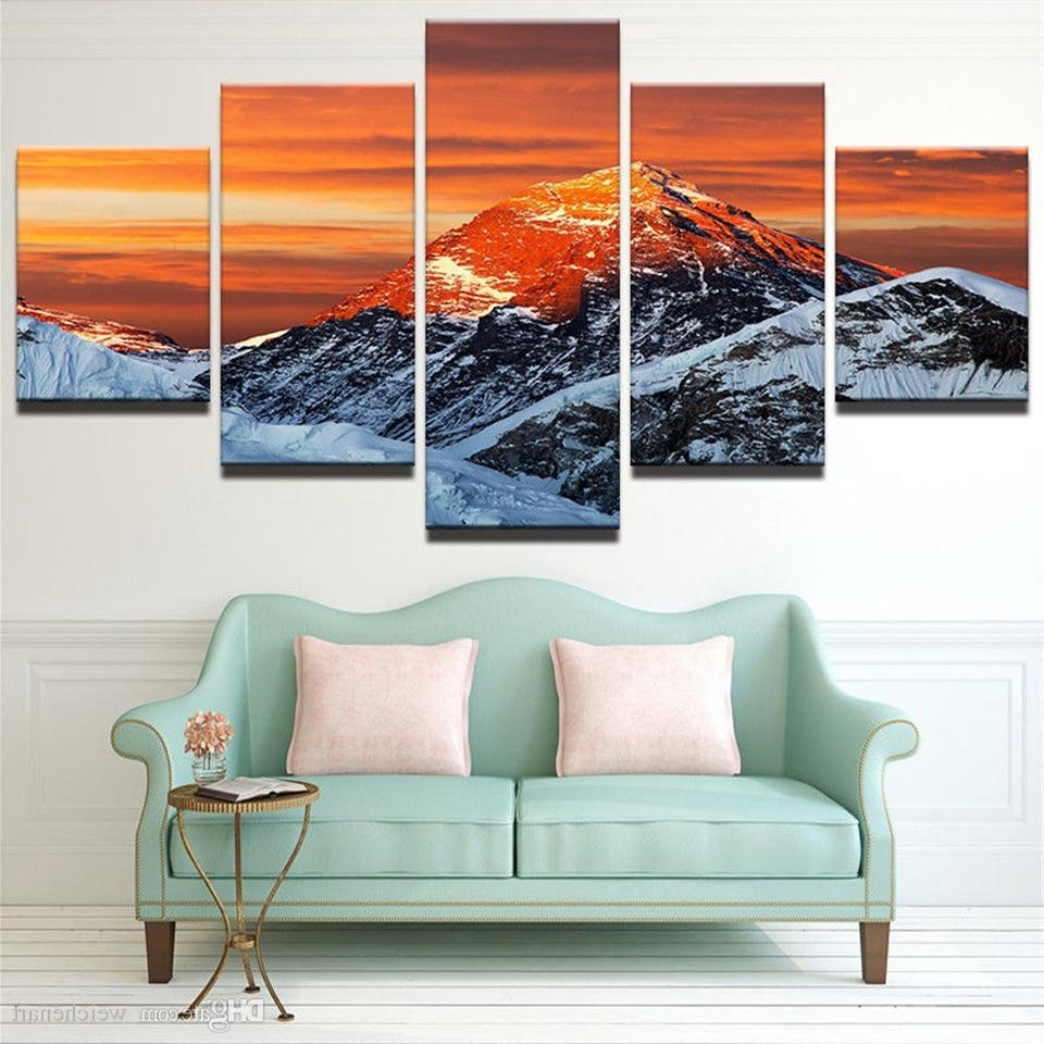Modern Framed Wall Art Canvas Intended For Trendy 2018 Hd Modern Frame Printed Canvas Living Room Pictures 5 Panel (View 7 of 15)