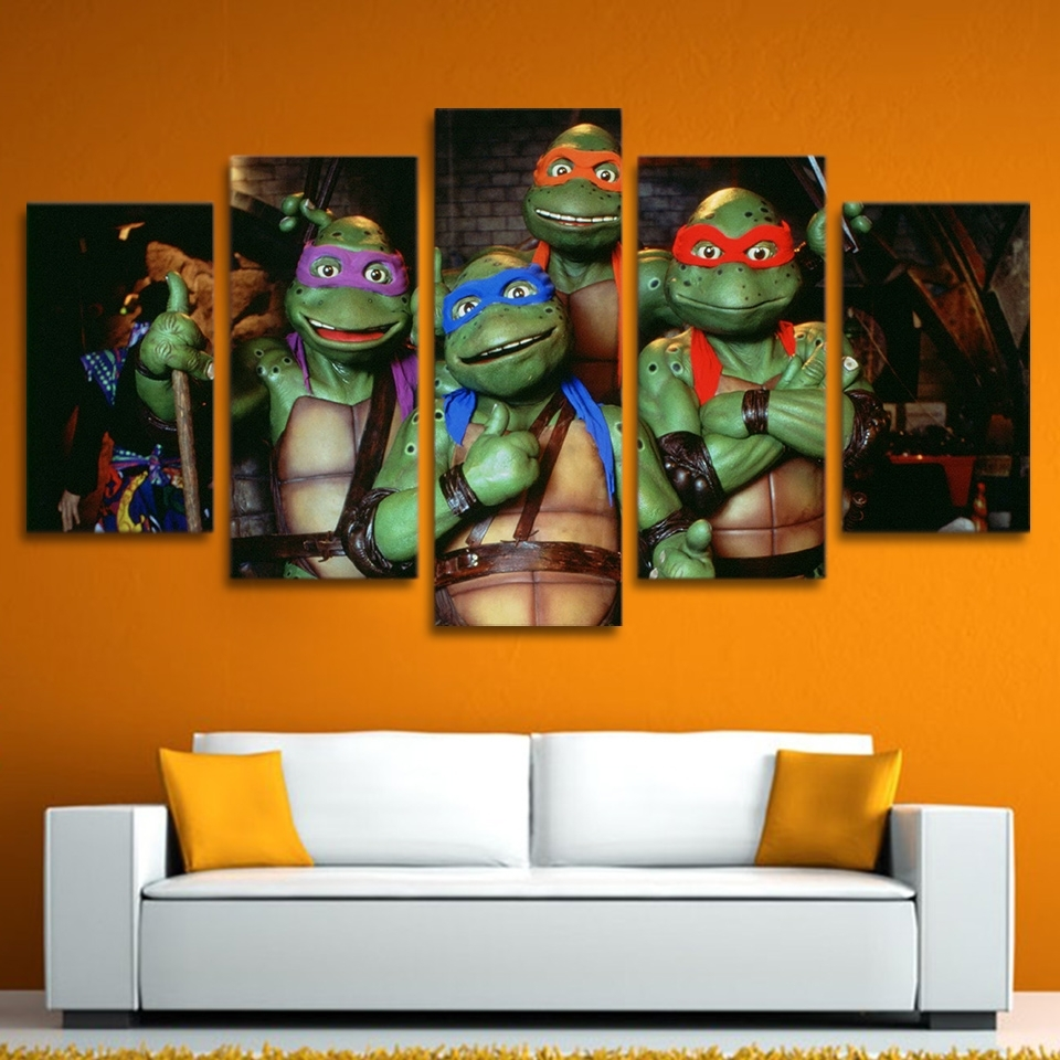 Modern Hd Printed 5 Piece Wall Art Canvas Paintings Ninja Turtles Intended For Best And Newest Ninja Turtle Wall Art (View 2 of 15)