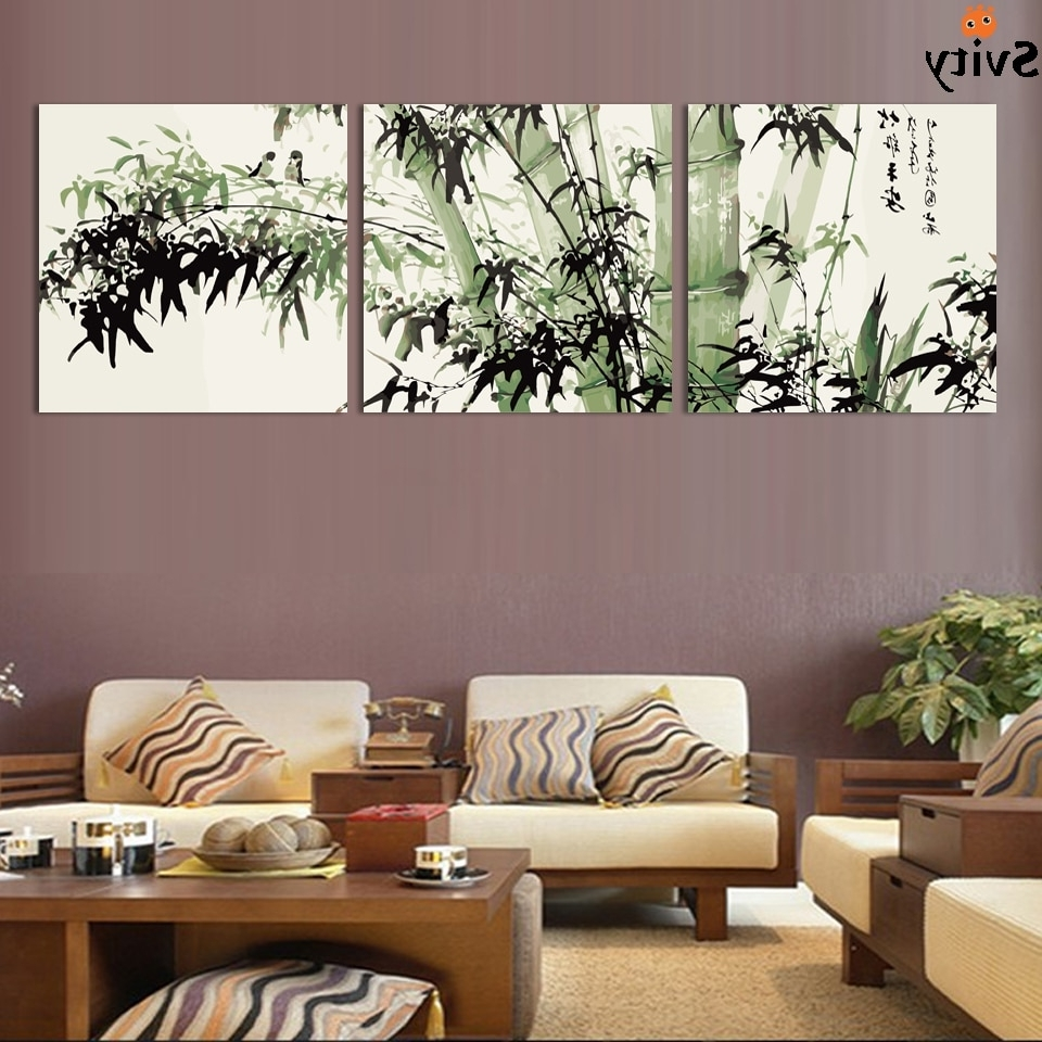 Modern Large Canvas Wall Art Intended For 2018 Fashion Large Canvas Art Cheap Modern Abstract Bamboo Canvas Wall (View 7 of 15)