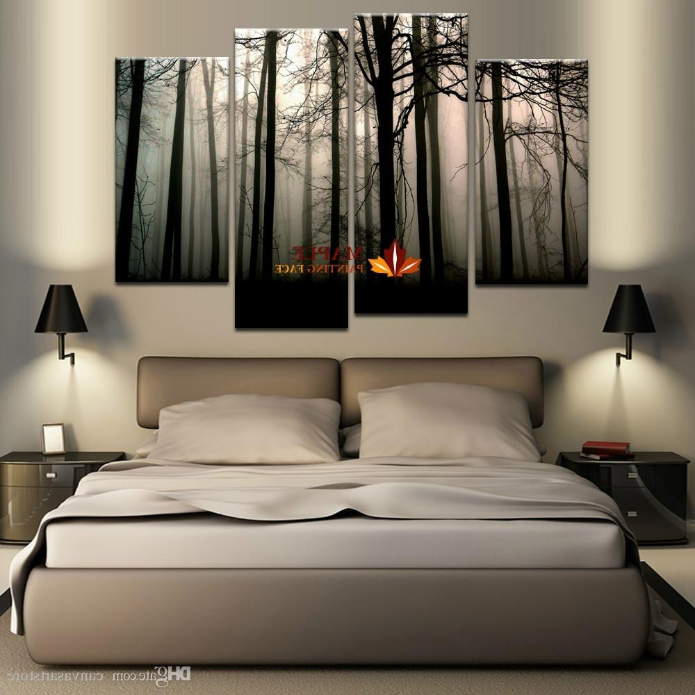 Modern Large Canvas Wall Art With Well Known 2018 4 Panel Large Canvas Art Modern Abstract Hd Canvas Print Home (View 10 of 15)