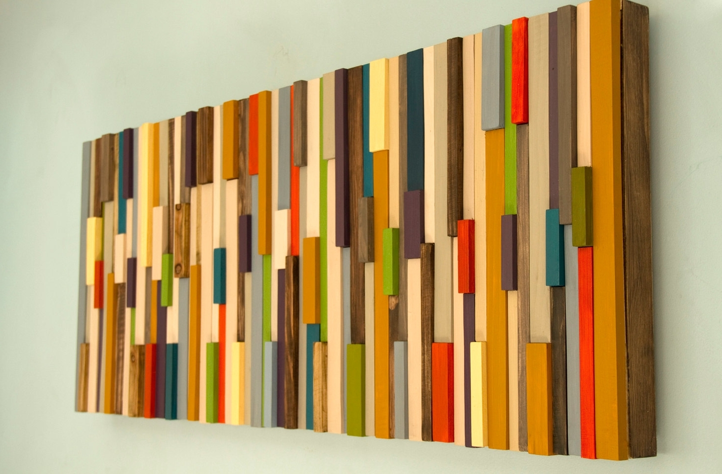 Modern Large Wall Art, Reclaimed Wood Art Sculpture, Painted Wood In Most Recent Wood Art Wall (View 6 of 15)