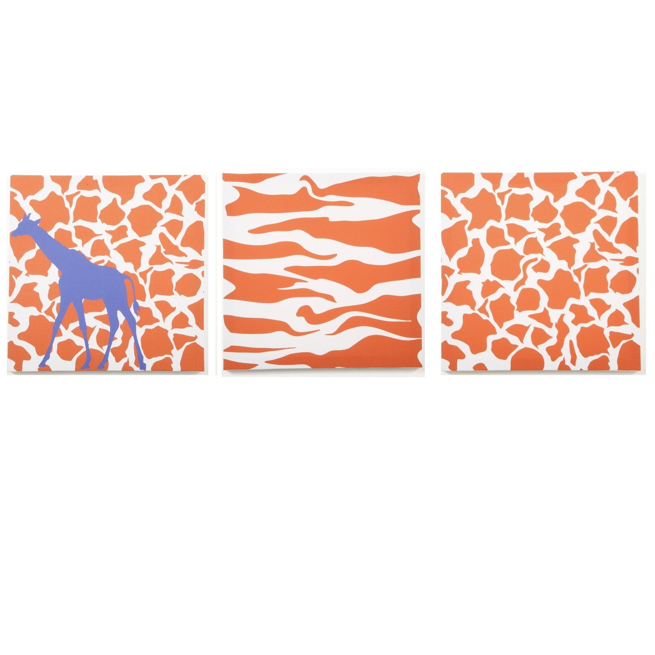 Modern Littles – Rusty Giraffe And Zebra – Canvas Wall Art – 3 Pc (View 9 of 15)