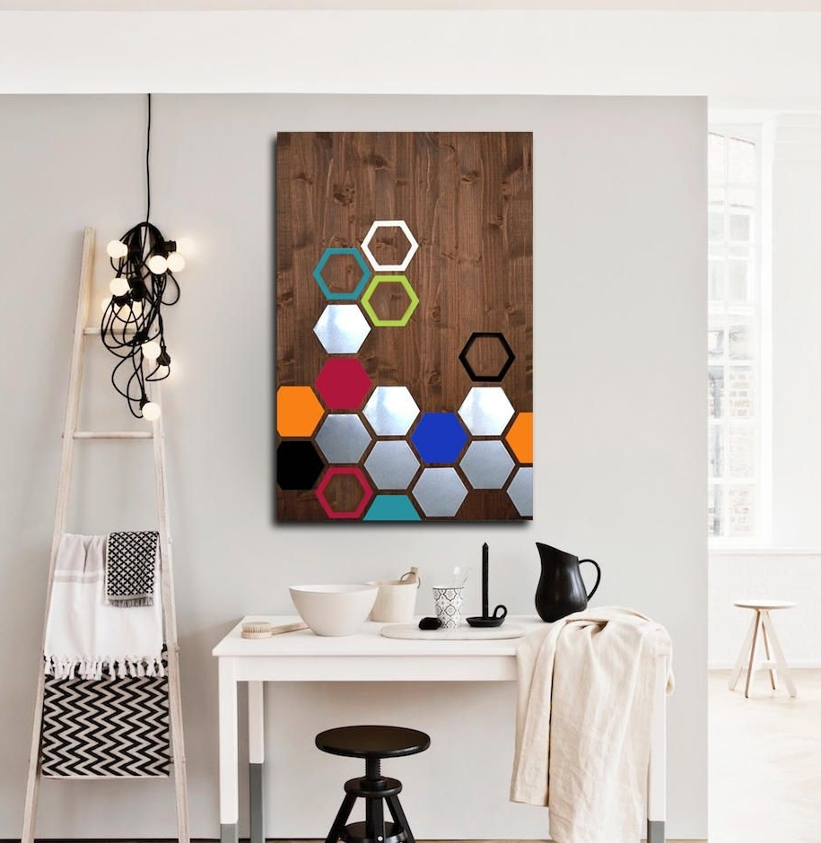 Modern Metal Wall Art With Well Known Metal Wood Wall Art, Modern Metal Wall Art Decor, Geometric Wood (View 7 of 15)