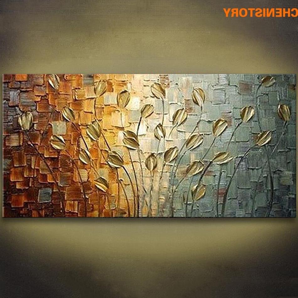 Modern Wall Art Decors Throughout Well Known Unframed Handmade Texture Knife Flower Tree Abstract Modern Wall Art (View 7 of 15)