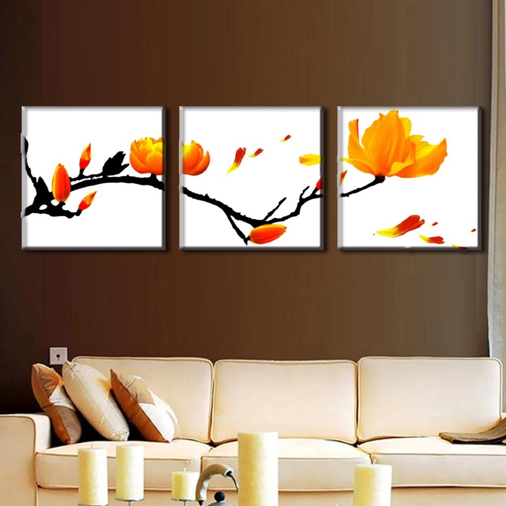 Modern Wall Art Inside Fashionable 3 Pcs/set Modern Wall Paintings Framed Flower Oil Painting On Canvas (View 5 of 15)