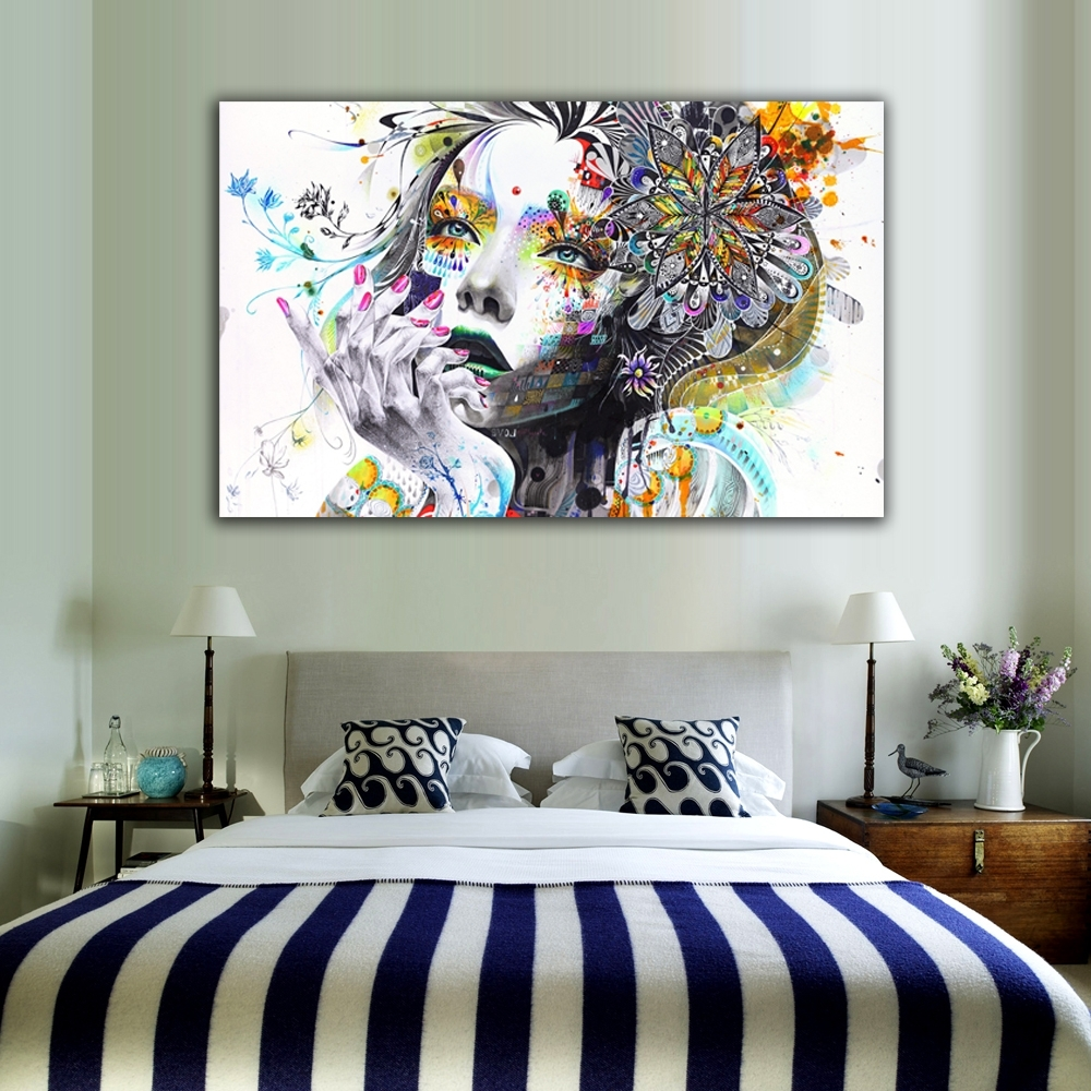 Modern Wall Art With Trendy 1 Piece Modern Wall Art Girl With Flowers Unframed Canvas Painting (View 1 of 15)
