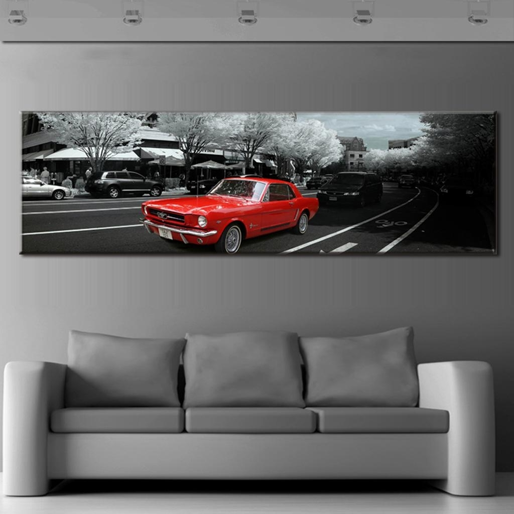 Modern Wall Paintings The City Red Car Canvas Prints Wall Art Large Regarding 2018 Car Canvas Wall Art (View 7 of 15)