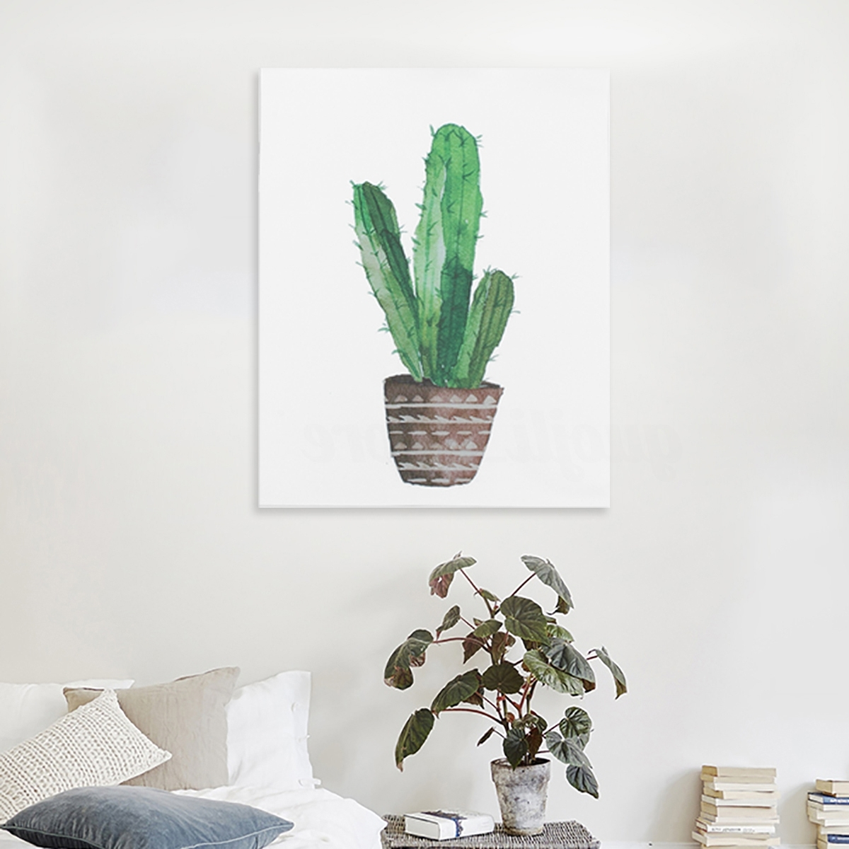 Modern Watercolor Green Cactus Plant Canvas Painting Art Print Home With Regard To Most Current Cactus Wall Art (View 10 of 15)