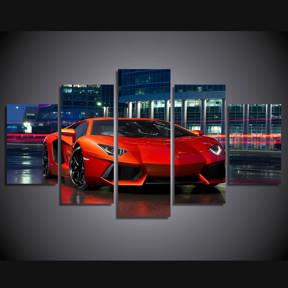 Modular Poster Wall Art Canvas Hd Printed Pictures 5 Pieces Red Regarding Current Car Canvas Wall Art (View 8 of 15)