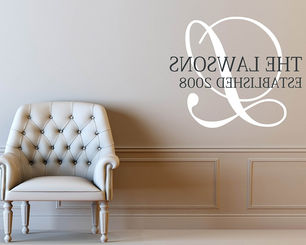 Monogram Wall Art Pertaining To Best And Newest Monogram Wall Decals – Vinyl Initial Wall Art Stickers (View 6 of 15)
