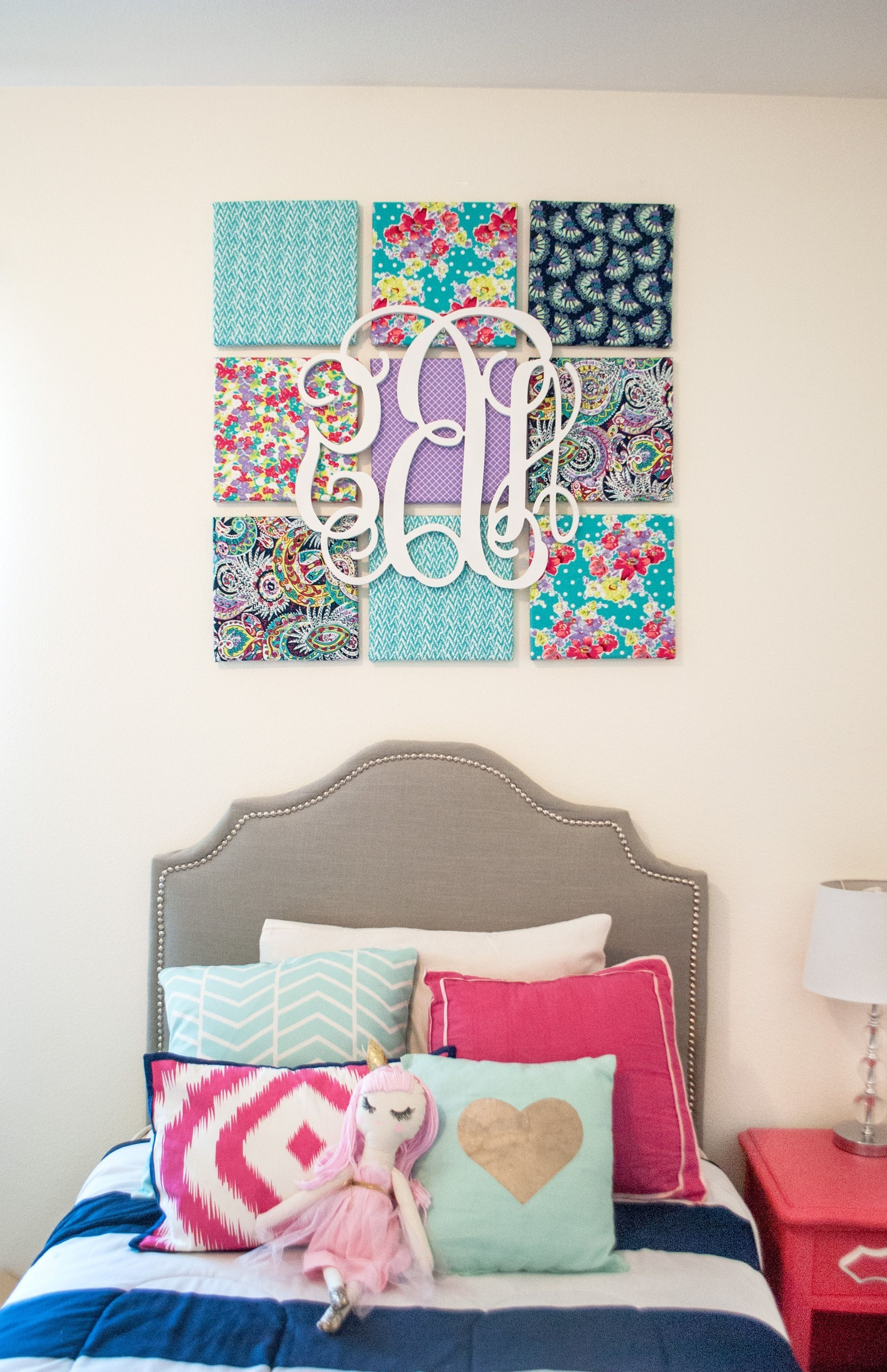 Monogram Wall Art Pertaining To Current Diy Fabric Wall Art (View 7 of 15)