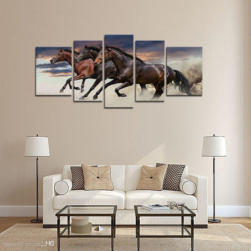 Most Current 2018 Modern Canvas Wall Art Three Fine Horses Running Animal Regarding Horses Wall Art (View 15 of 15)