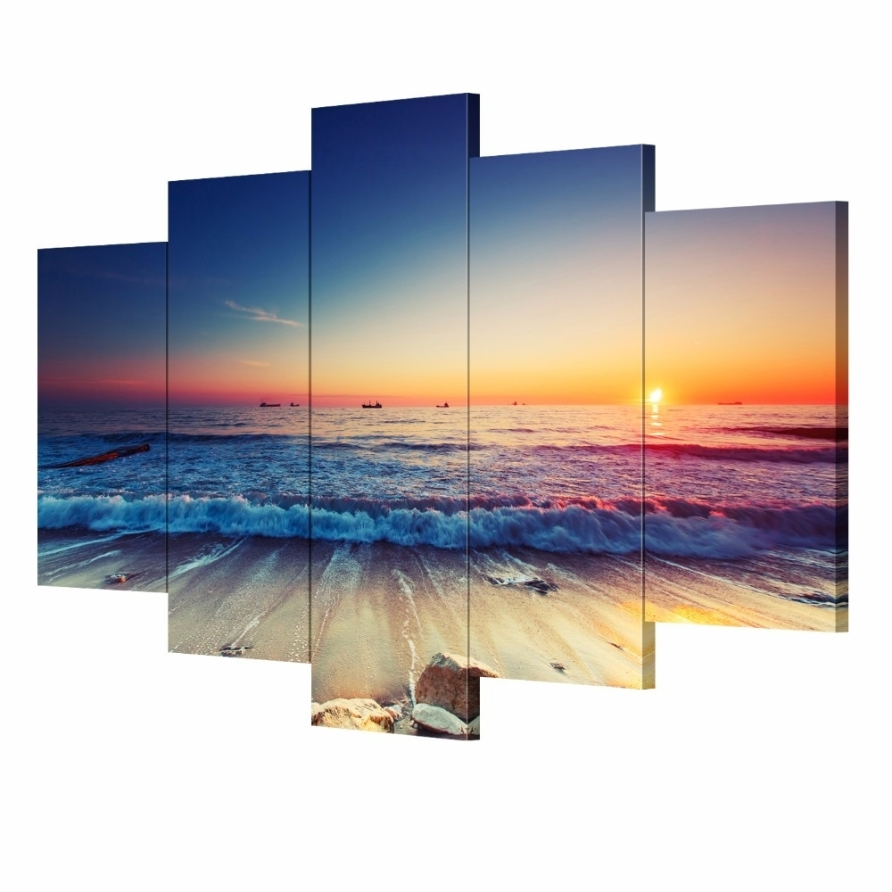 Most Current 5 Pieces Modern Wall Art Canvas Unframed Modular Sunrise Panel Print Throughout 5 Piece Wall Art Canvas (View 9 of 15)
