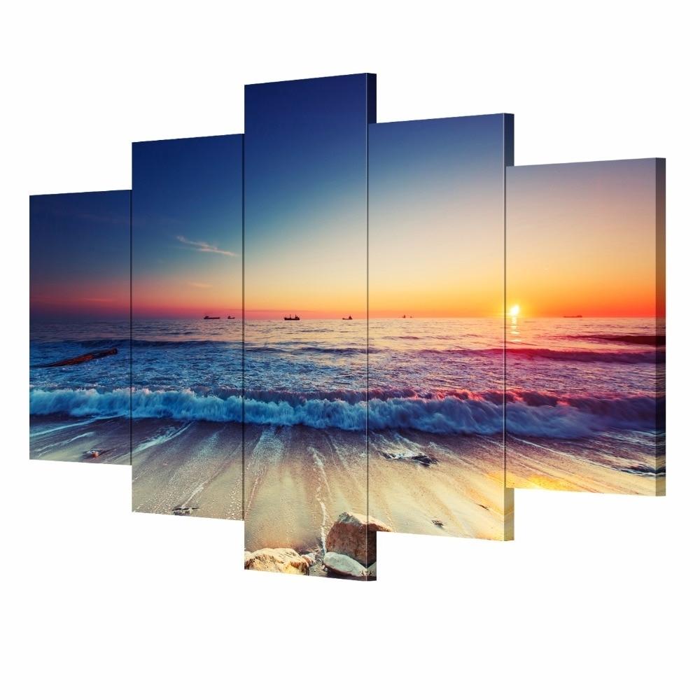 Most Current 5 Pieces Modern Wall Art Canvas Unframed Modular Sunrise Panel Print Throughout 5 Piece Wall Art Canvas (View 10 of 15)