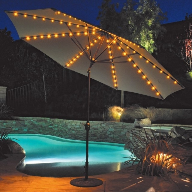 Most Current 53 Led Umbrella Patio, 9#039; New Solar 40 Led Lights Patio Umbrella For Solar Lights For Patio Umbrellas (View 2 of 15)