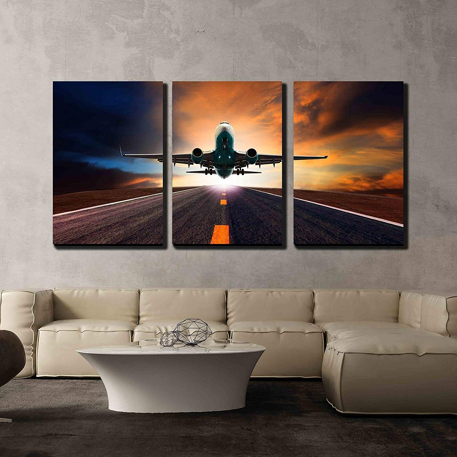 Most Current Airplane Wall Art With Regard To Amazon: Wall26 – 3 Piece Canvas Wall Art – Passenger Jet Plane (View 10 of 15)