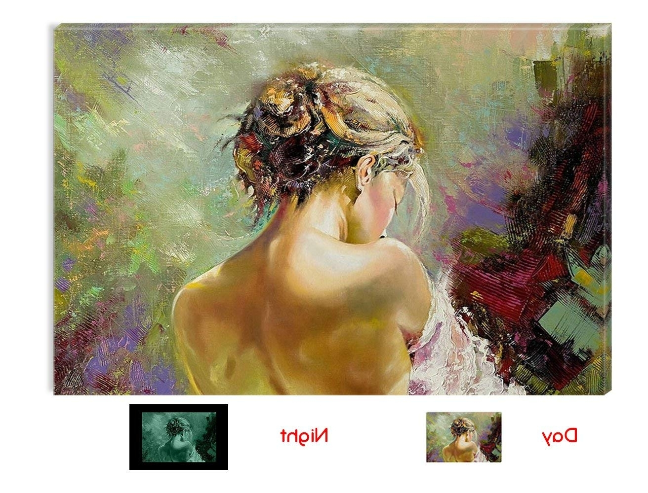 Most Current Amazon: Startonight Wall Art Canvas Woman Sexy Back, Women Usa Within Modern Framed Wall Art Canvas (View 15 of 15)