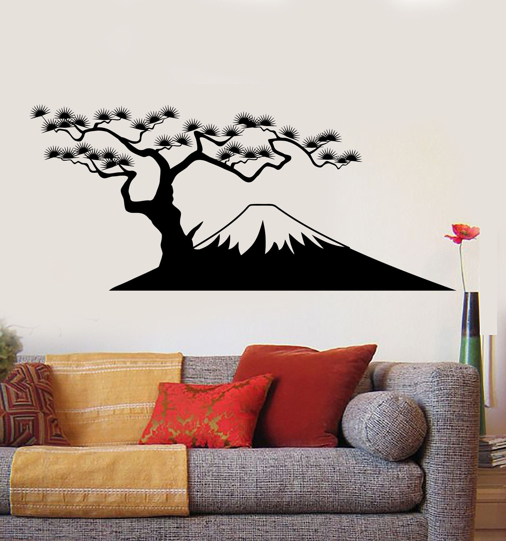 Most Current Asian Wall Art With Regard To Vinyl Wall Decal Mountain Tree Asia Oriental Asian Stickers Unique (View 11 of 15)