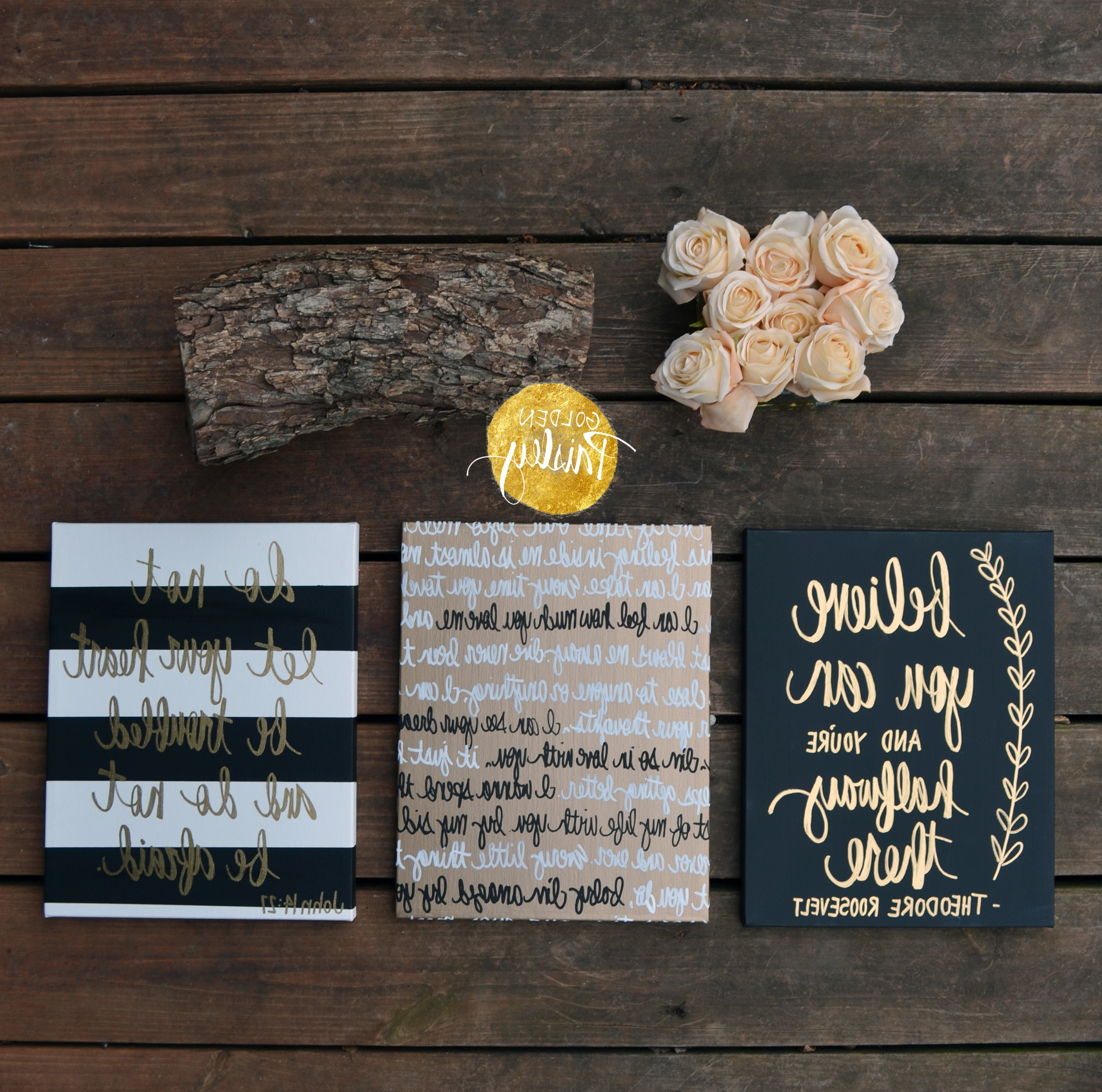 """Most Current Black And Gold Wall Art Within Black And Gold Inspirational Quote Wall Art """"Believe You Can"""" (View 8 of 15)"""