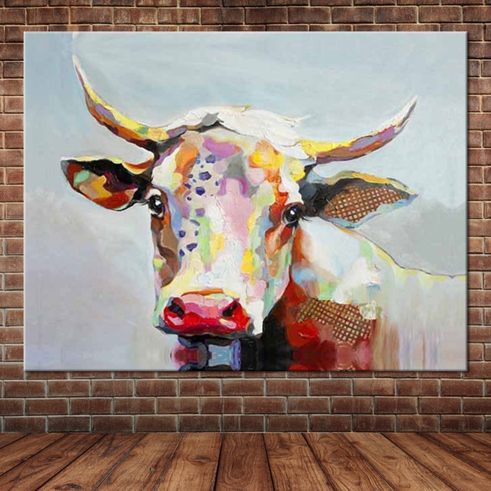 Most Current Cow Canvas Wall Art Inside Canvas Wall Art Cute Animal Colorful Cow Hand Painted Oil Painting (View 9 of 15)