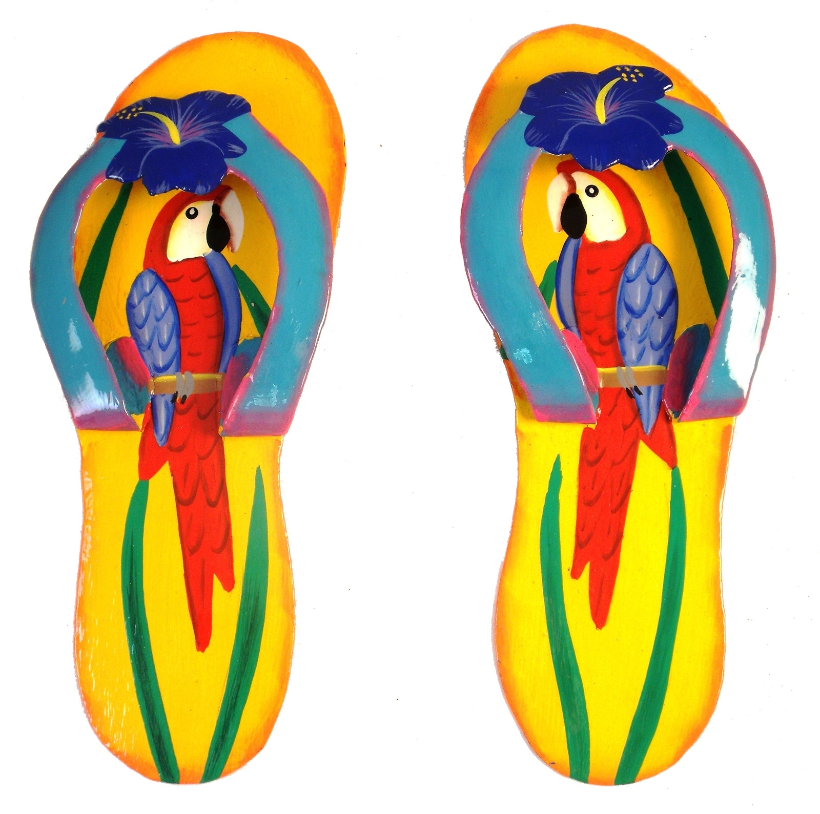 Most Current Flip Flop Wall Art Intended For Tropical Beach Flip Flop Parrots Hatian Metal Wall Decor Set (View 14 of 15)
