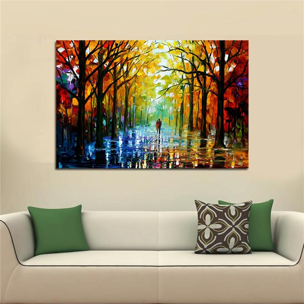 Most Current Frameless Huge Wall Art Oil Painting On Canvas Forest Road Wall With Regard To Huge Wall Art (View 2 of 15)