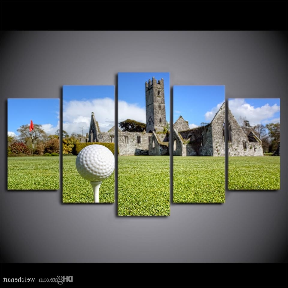 Most Current Golf Canvas Wall Art Within 2018 Hd Printed Canvas Art Golf Course Painting House On Hills Wall (View 10 of 15)