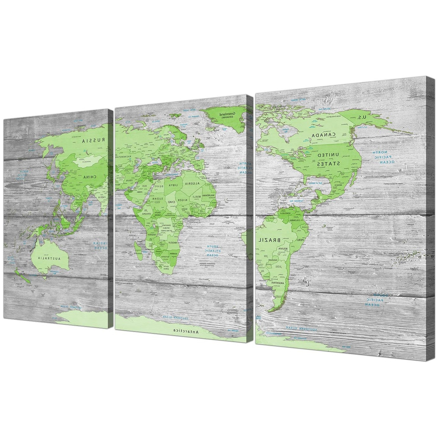 Most Current Green Wall Art Inside Large Lime Green Grey World Map Atlas Canvas Wall Art Print – Multi (View 3 of 15)