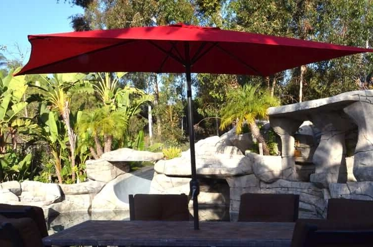 Most Current Hanging Patio Umbrellas Regarding Patio Umbrella – Red 5 X 8 Rectangularquality Patio Umbrellas (View 10 of 15)