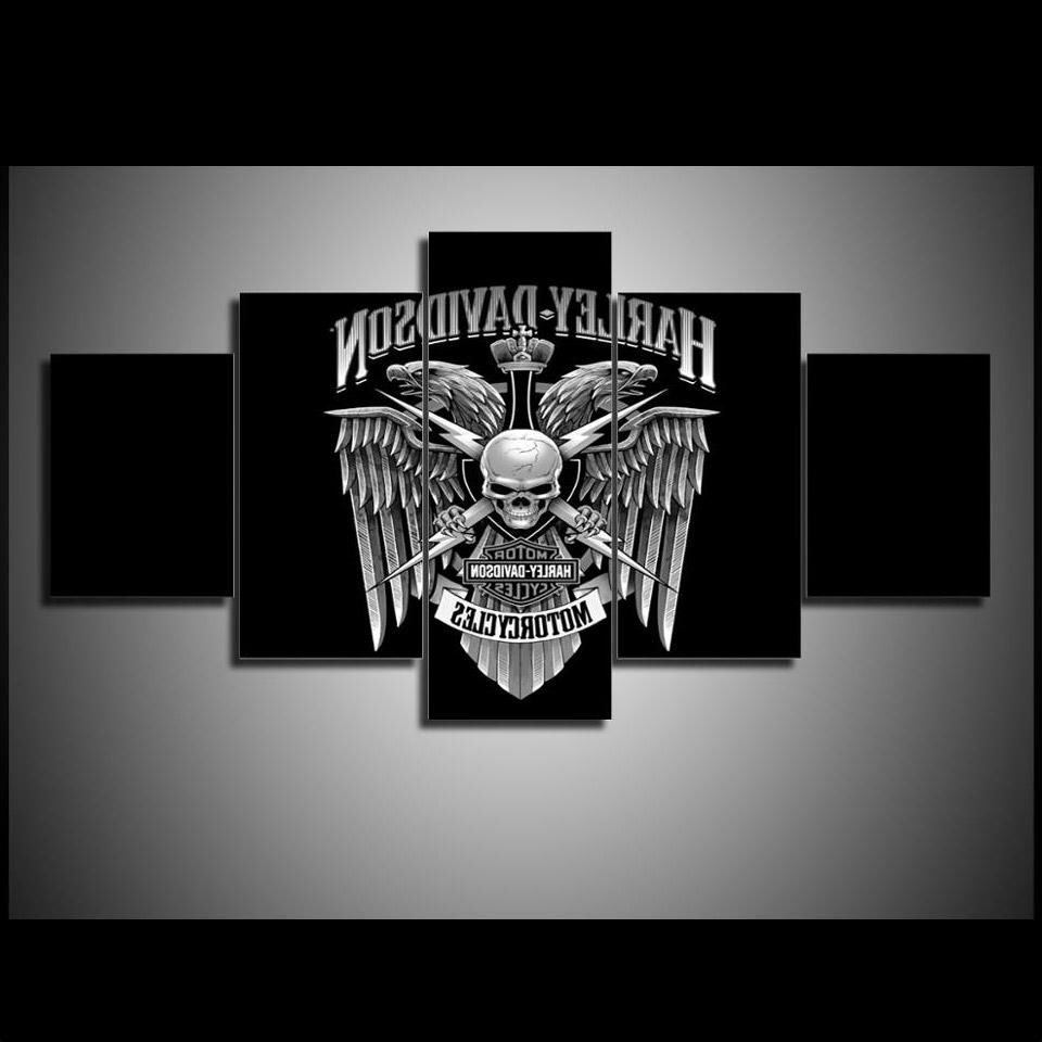 Most Current Harley Davidson Wall Art For 5 Piece Wall Art On Canvas Harley Davidson Wall Art Print Eagle (View 12 of 15)