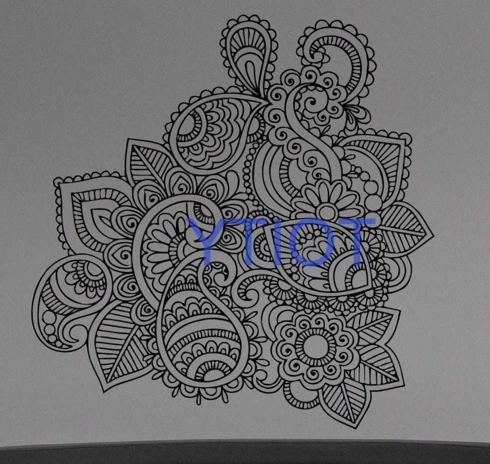 Most Current Henna Mehndi Wall Sticker Flower Paisley Doodle Vinyl Decal Home Regarding Henna Wall Art (View 15 of 15)