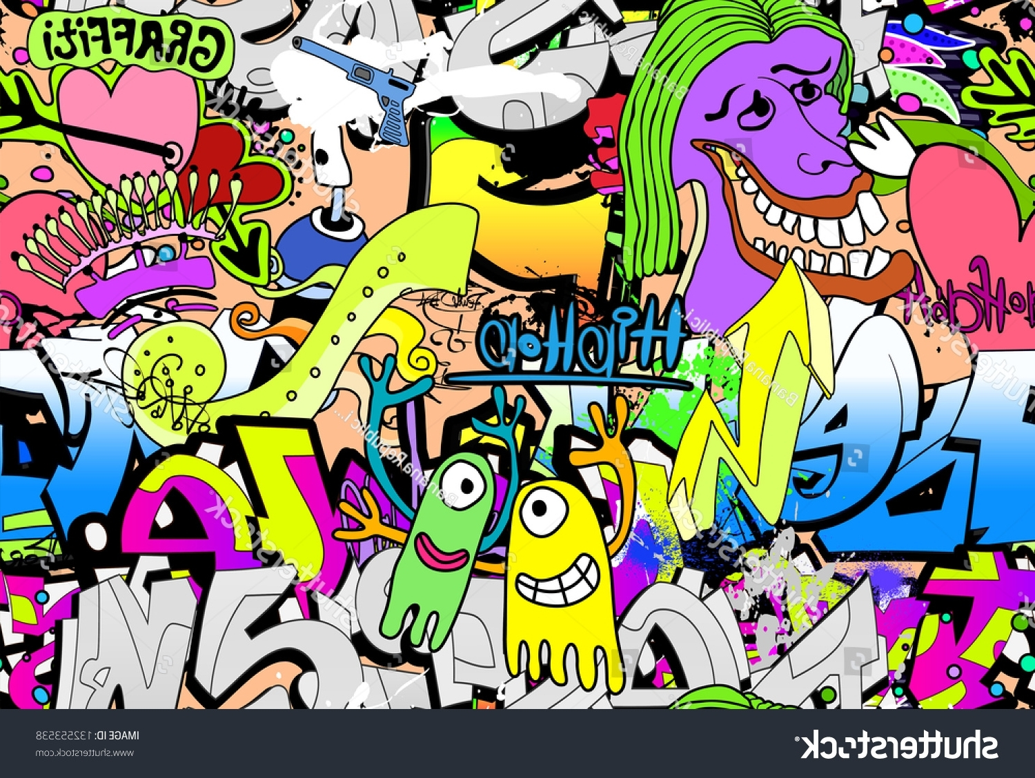 Most Current Hip Hop Wall Art In Graffiti Wall Art Background Hiphop Style Stock Illustration (View 9 of 15)
