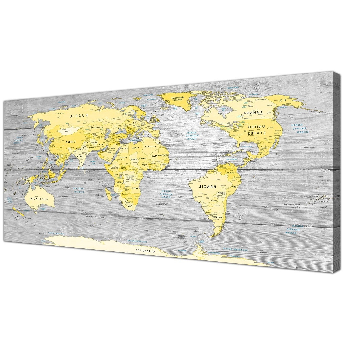 Most Current Large Yellow Grey Map Of World Atlas Canvas Wall Art Print – Maps Pertaining To Yellow And Gray Wall Art (View 2 of 15)