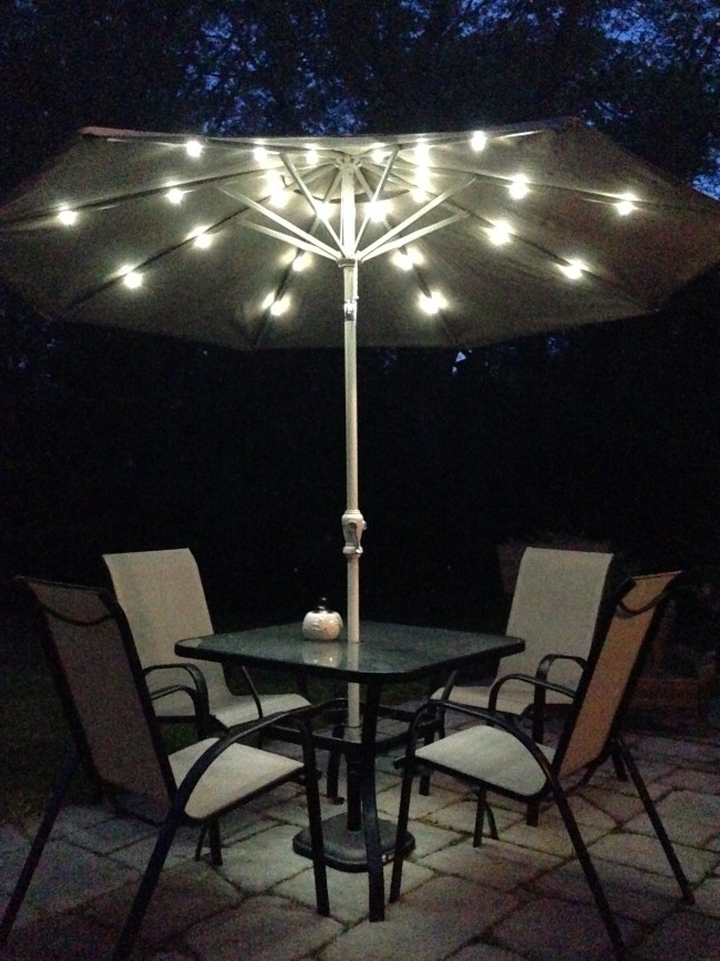 Most Current Lighted Patio Umbrellas — Mistikcamping Home Design : Different Inside Solar Patio Umbrellas (View 4 of 15)