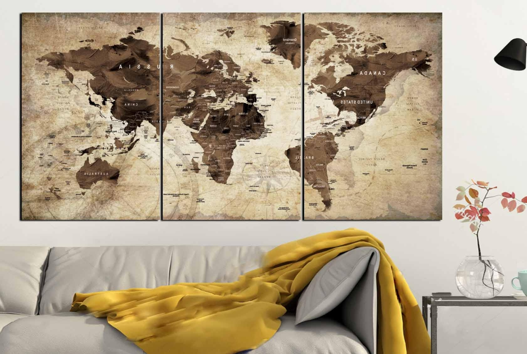 Most Current Map Of The World Wall Art Intended For World Map,world Map Vintage,vintage Map Art,world Map Wall Art,world (View 7 of 15)