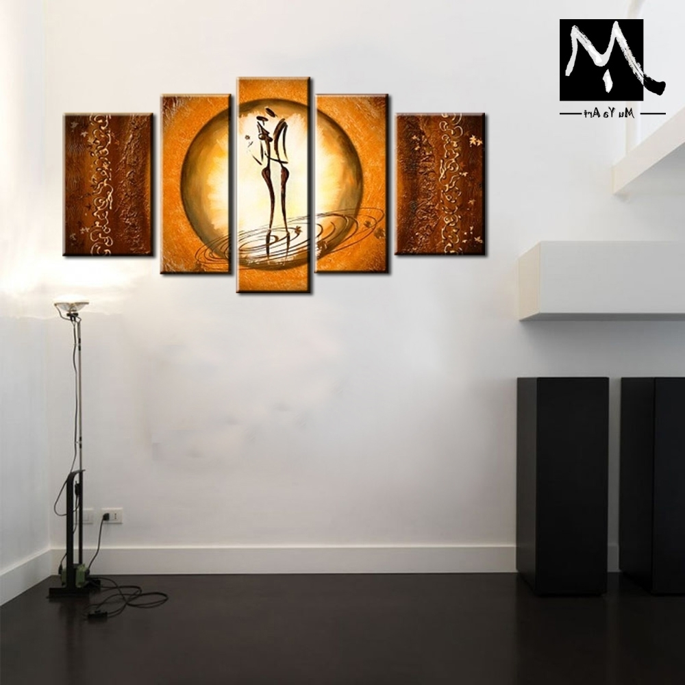 Most Current Modern Canvas Wall Art Pertaining To 5 Piece Muti Panel Sweet Couple Love Abstract Modern Canvas Wall Art (View 8 of 15)