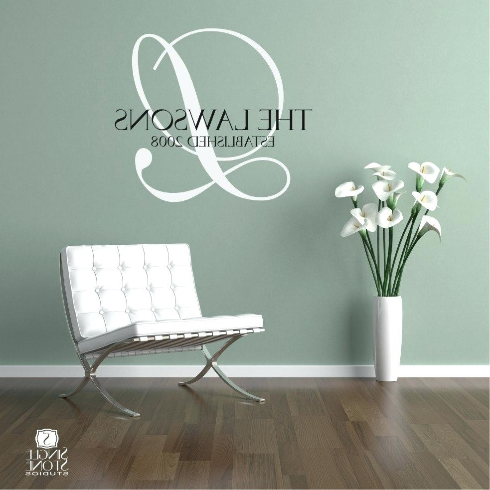 Most Current Monogram Wall Art Within Name Monogram Wall Decals – Gutesleben (View 12 of 15)