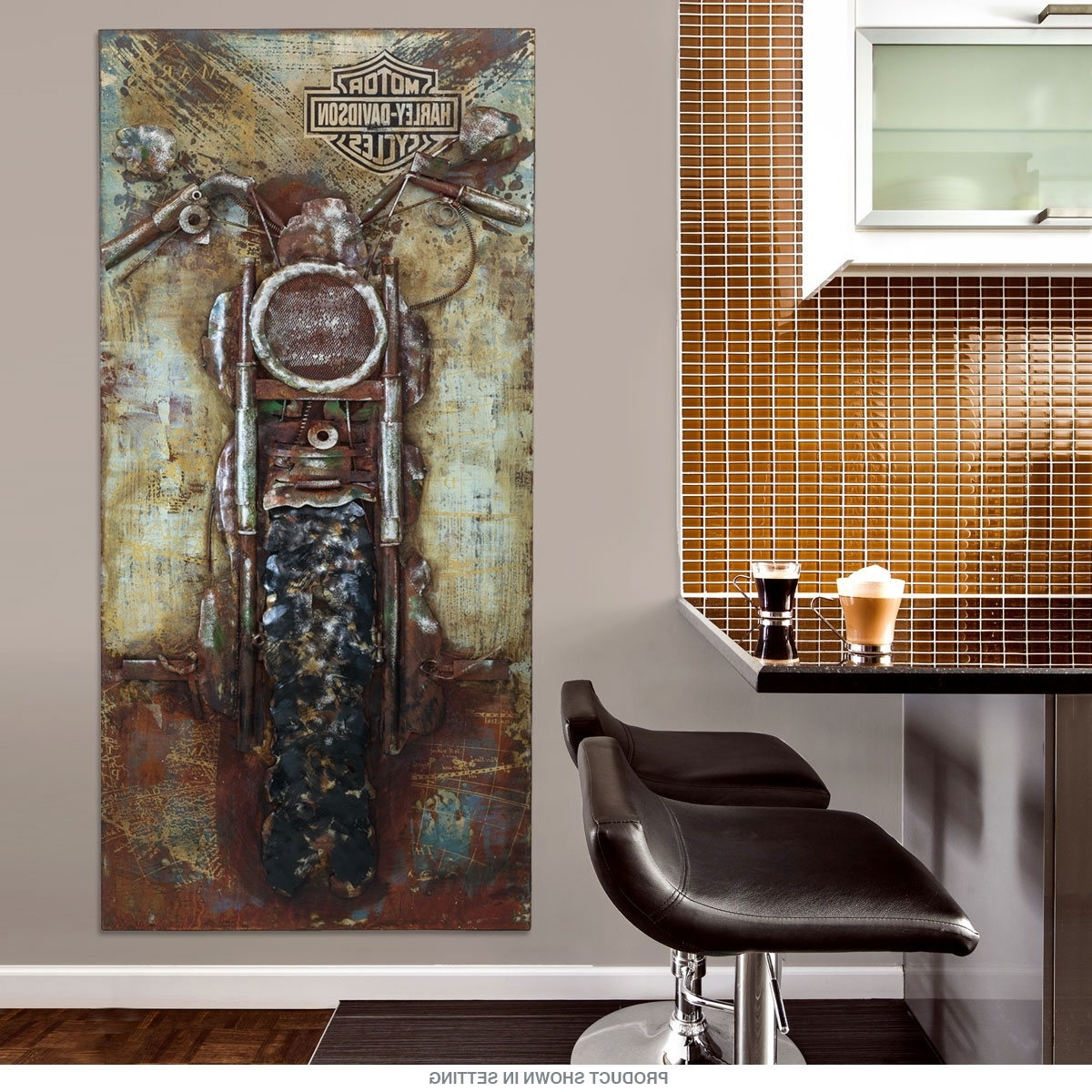 Most Current Motorcycle Wall Art Pertaining To Harley Davidson Bike Repurposed Steel Wall Art (View 9 of 15)
