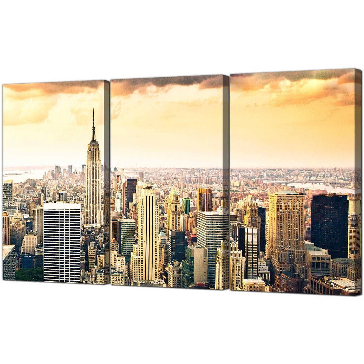 Most Current New York Canvas Wall Art For Extra Large New York Skyline Canvas Pictures 3 Panel For Your Bedroom (View 4 of 15)