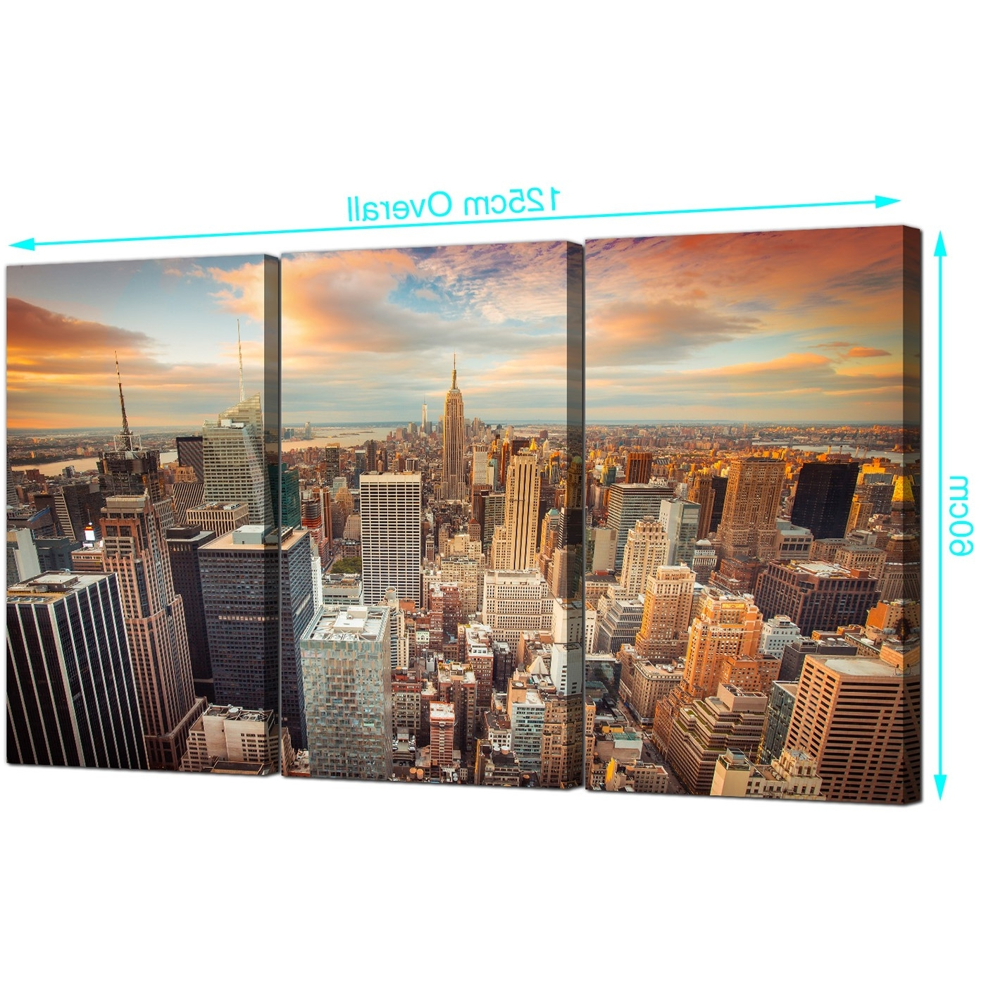 Most Current New York Canvas Wall Art With Regard To Cheap New York Skyline Canvas Wall Art 3 Panel For Your Living Room (View 2 of 15)