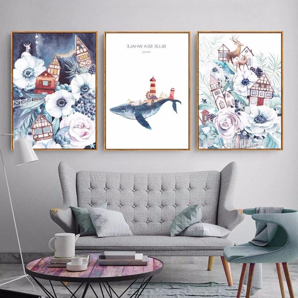 Most Current Nordic Cartoon Wall Art Animal Canvas Paintings Blue Sea Whale A4 Pertaining To Whale Canvas Wall Art (View 12 of 15)