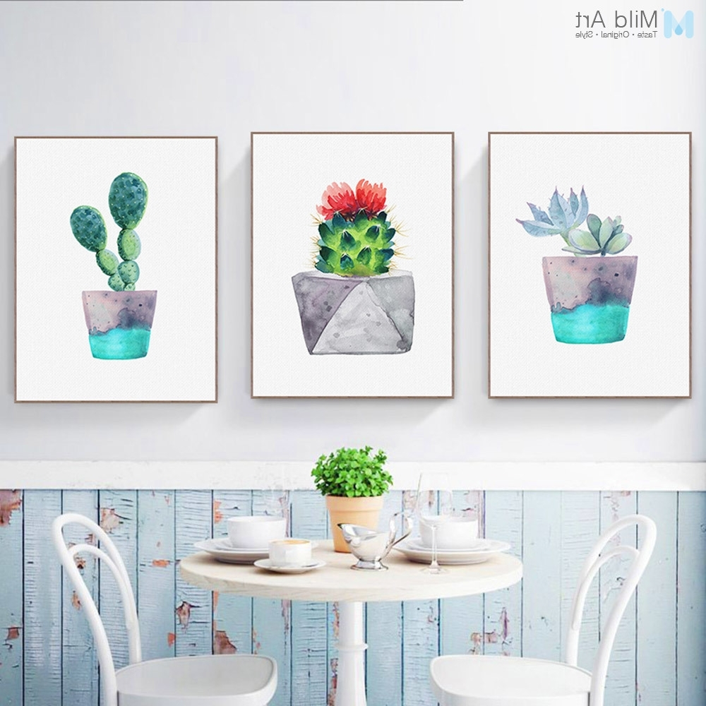 Most Current Nordic Watercolor Green Plant Cactus Poster Succulent A4 Modern Wall For Cactus Wall Art (View 11 of 15)