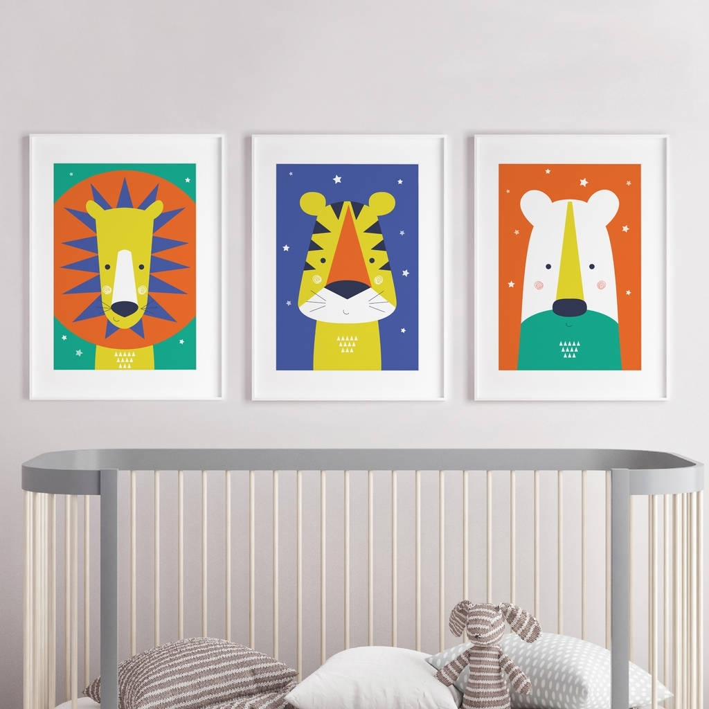Most Current Nursery Wall Art Pertaining To Animal Nursery Wall Art Trio Bright And Modern Babypaper Joy (View 6 of 15)